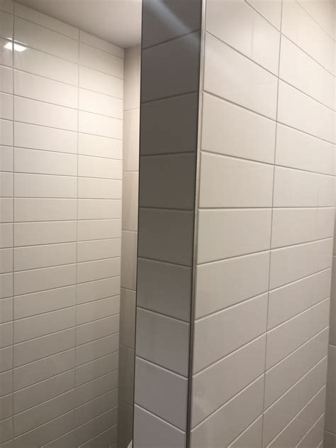 glossy white horizontal stacked subway tile  wall tile