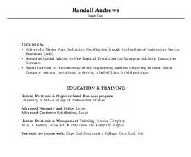 some college on resume no degree combination resume exle automotive service manager
