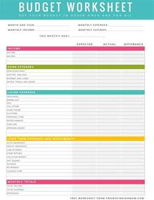 Sle Of Budget Sheet by Free Printable Household Budget Worksheet