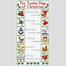 Large Christmas Cross Stitch Pattern 'twelve Days Of