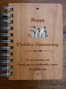 Personalised wooden 5th wedding anniversary journal for 5th wedding anniversary gift