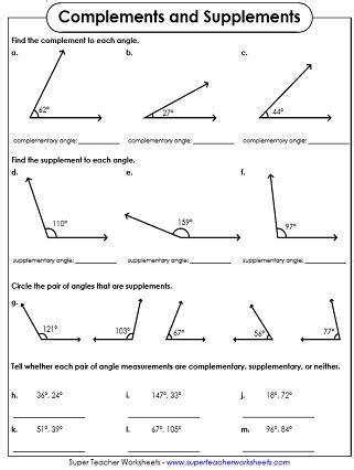 complementary and supplementary angles worksheets