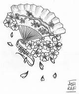 Fan Japanese Tattoo Coloring Sketch Template Credit Larger sketch template