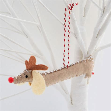 set of two rudolf sausage dog decorations by miss shelly