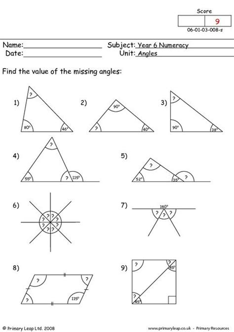 angles worksheets year 9 angles 4 primaryleap co uk