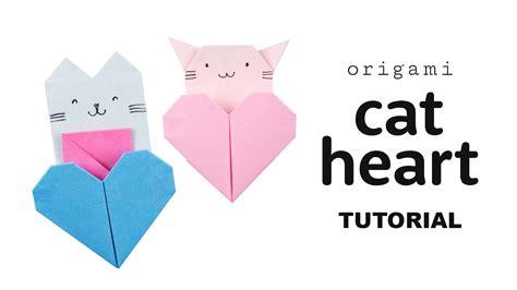 origami cat heart tutorial collab  origami tree