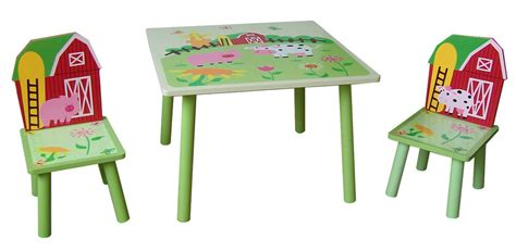 farm style childrens wooden table  chair set kids toddlers childs  ebay