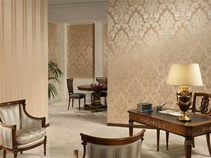 Gold color wallpaper in living room olpos design