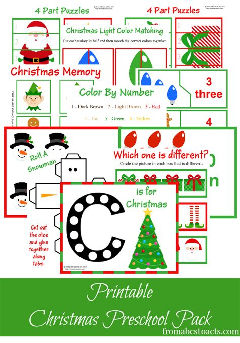 free printables learning resources for 256 | Christmas Preschool Pack