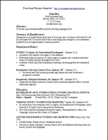 Functional Resume by Functional Resume Sles Exles Sles Free Edit With Word