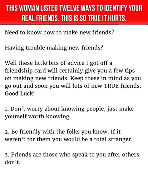 how real is it or list it this woman listed twelve ways to identify your real friends this is so true it hurts
