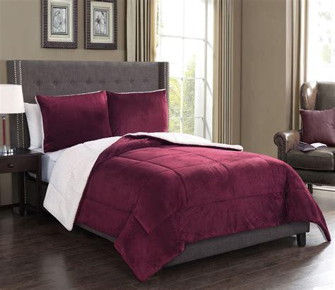 3 piece microsuede sherpa comforter set ebay