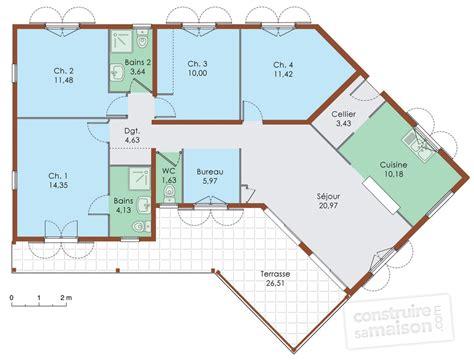 cuisine maison de plain pied d 195 169 du plan de maison de plain pied plan maison 4 chambres