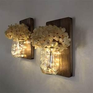 Mason Jar Wall Sconce Set of Two Complete with LED Fairy