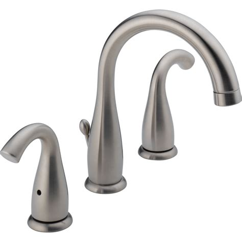 shop delta brushed nickel 2 handle widespread watersense labeled bathroom sink faucet drain