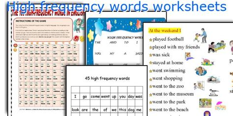 teaching worksheets high frequency words