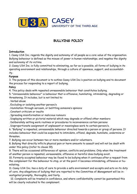 bullying policy casey ua