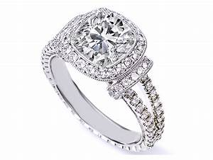 Engagement ring cushion cut diamond halo engagement ring for Double band diamond wedding ring