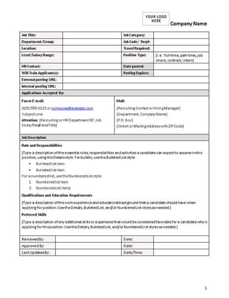 description form template description form