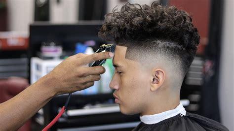 haircut tutorial drop fade curly top youtube