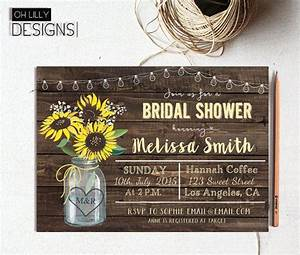 sunflower bridal shower invitation mason jar bridal With wedding shower invitations with sunflowers