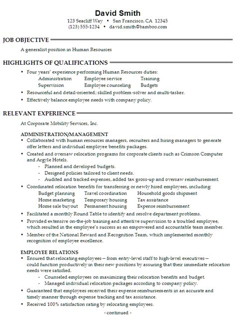 Human Resources Resume Objective by Sle Resume For Someone Seeking A As A Generalist In