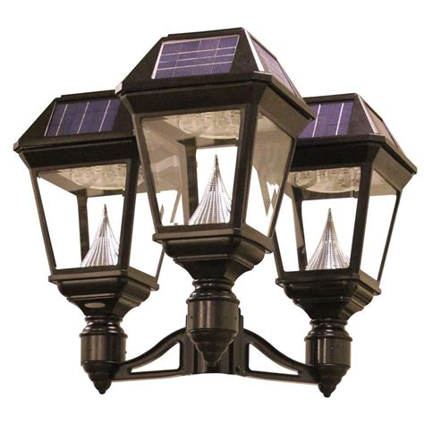 solar led outdoor l post gama sonic imperial ii 3 head solar black outdoor