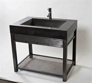 Steel Vanity with Charcoal concrete sink - Modern