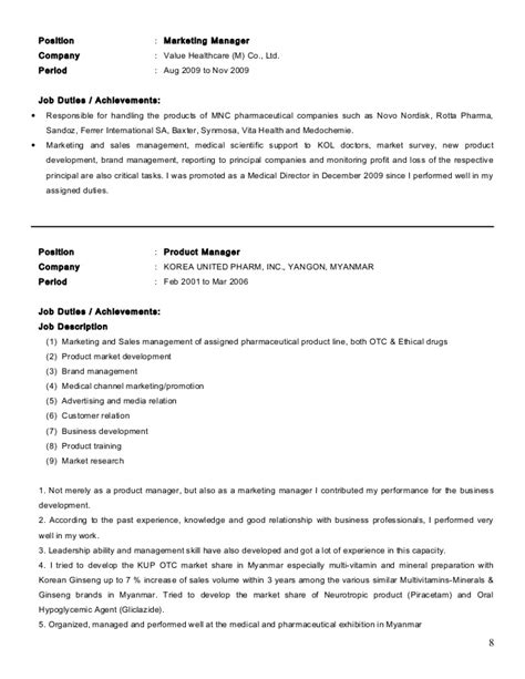 Resume For Pharmaceutical Industry by Resume Of Dr Khine Mba 3 2013 Mm Revised