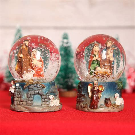 mini christmas nativity snow globe dome by red berry apple