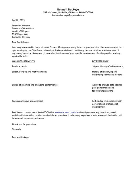 formats of a cover letter