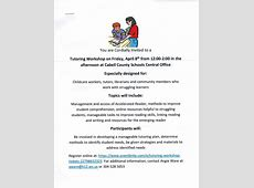 Training Tutoring Workshop, April 8th, 122 PM – Cabell