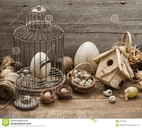 vintage easter decoration with eggs and birdcage stock photo image 30774804
