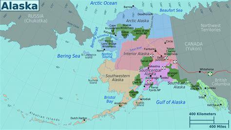 large regions map  alaska state alaska state usa