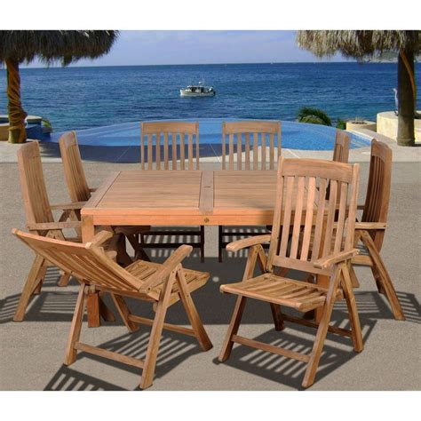 amazonia eiffel square  piece solid teak patio dining set
