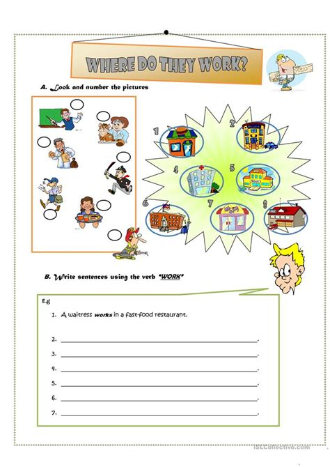 Where Do They Work?? Worksheet  Free Esl Printable Worksheets Made By Teachers