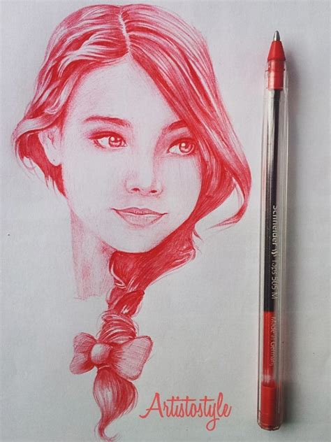 realistic drawings color red female faces drawing