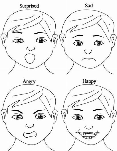 Emotions Sad Happy Printable Coloring Exploring Angry