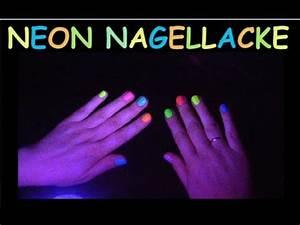 Fluoreszierende Neon Nagellacke im Schwarzlicht auf