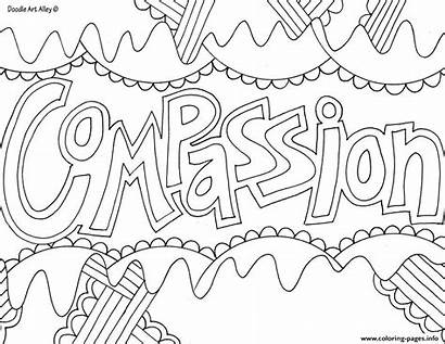 Coloring Word Compassion Pages Printable