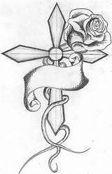 Cross Rose Roses Drawings Drawing Tattoo Printable Deviantart Sheets Cool Easy Pages Pencil Designs Flowers Sketches Sketch Printablecolouringpages Banner sketch template