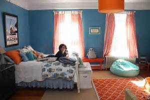 Bedroom: Killer Nautical Blue And Orange Bedroom