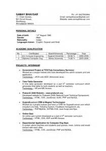 resume format in word india resume format for teachers job in india resume template exle