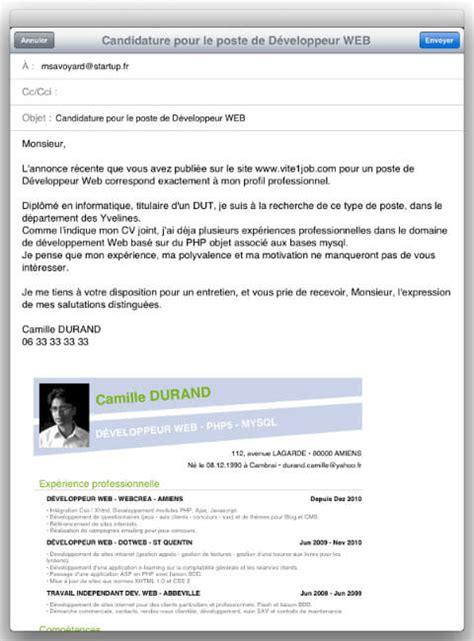 resume format lettre envoi cv mail