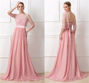 Aliexpress.com : Buy Modest Lace Peach Long Chiffon Half ...