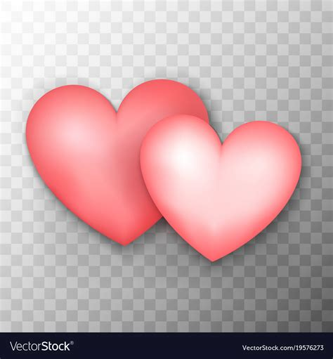 Image With Transparent Background Two Pink Hearts Transparent Background Royalty Free Vector