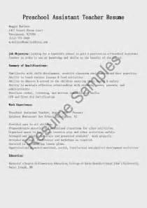 preschool assistant resume exles resume sles preschool assistant resume sle