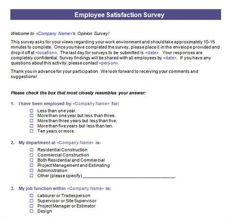 employee survey template 16 sle employee satisfaction survey templates to sle templates