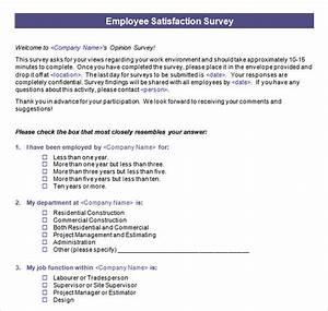 employee satisfaction survey 15 download free documents With employee satisfaction survey template word