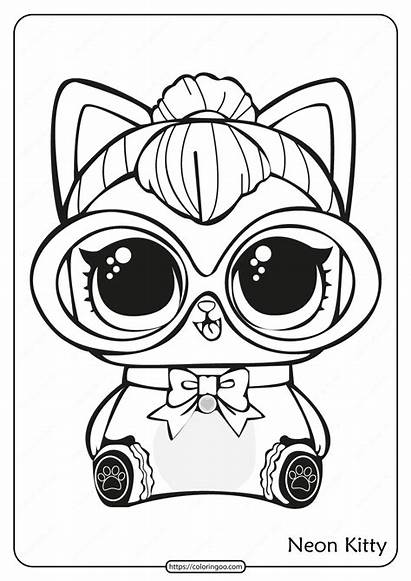 Lol Coloring Surprise Doll Kitty Printable Neon